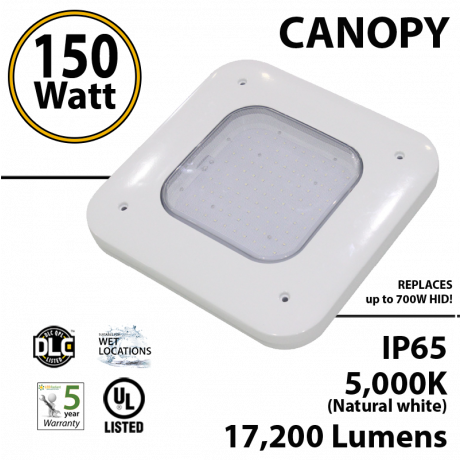 150W LED Canopy Light Ceiling Mount 17200 Lm 5000K IP65 UL