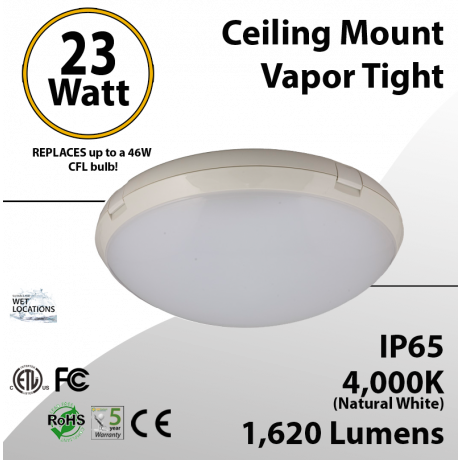 Ceiling mount Vapor Tight LED fixture 23W 4000K