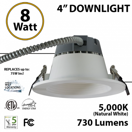 8W LED 4 inch Downlight Architectural Trim 730 Lm Dimmable 5000K