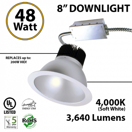 48W LED 8 inch Downlight Arquitectural Retrofit 3640Lm Dimmable 4000K