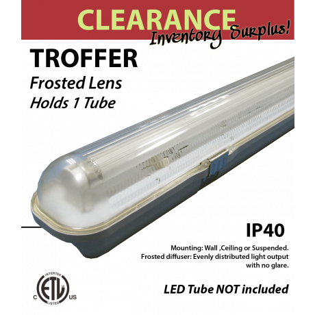 Tr-Proof fixture for Single 4FT LED tube. Vapor tight