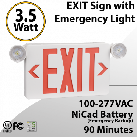 EXIT sign with Emergency Light 90 minute discharge 3.5W with Battery