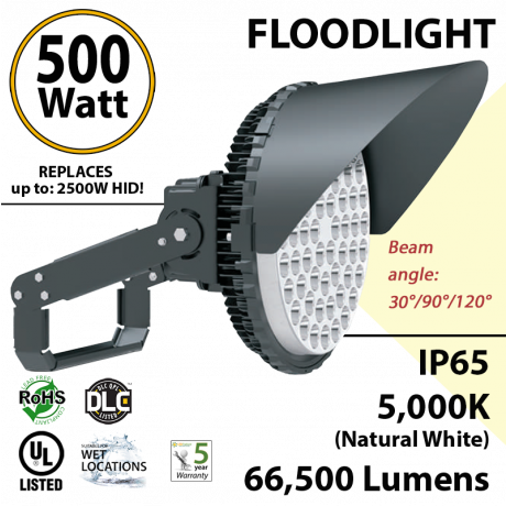 500W LED Floodlight 66500 Lm 5000K IP65 CE SAA UL