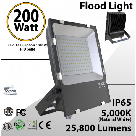 Floodlight 200W 25500 Lm replaces up to 1000W Metal Halide
