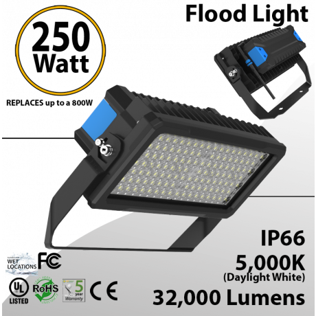 250W LED Floodlight 32000 Lm 5000K IP65 CE SAA UL