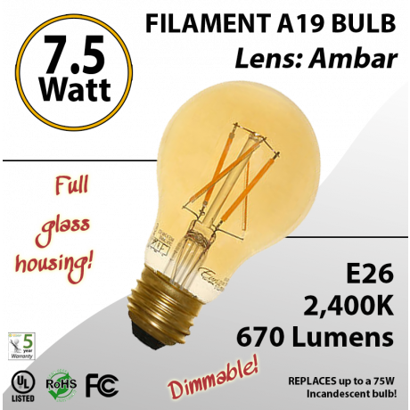 7.5W LED Filament Bulb 2400K Antique A19 Vintage Amber 670Lm E26 dimmable