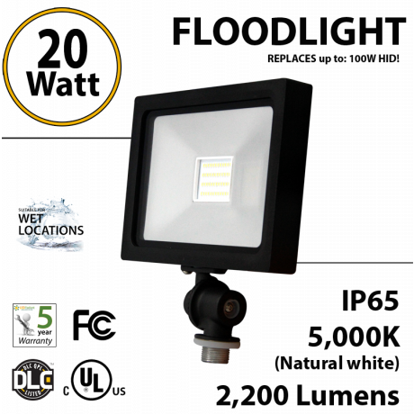20 watt LED floodlight Fixture replaces up to 100 Watt HID/Mh