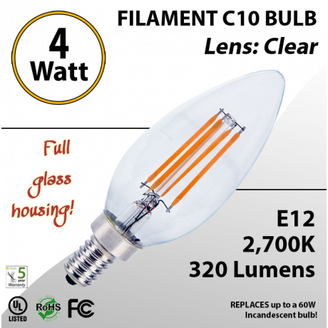 4W LED Filament Bulb 2700K C10 Vintage Clear 320 Lm E12 not dimmable