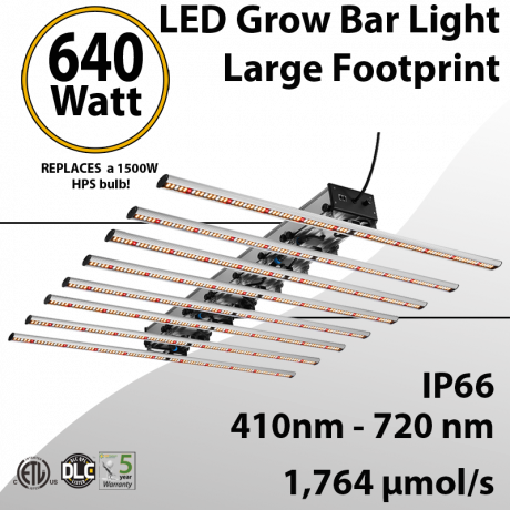 LED Grow Light 640W Wide Spectrum High Efficacy With Dimmer