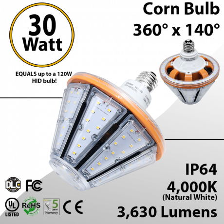 Garage Lighting LED Corn Bulb 30W 3630Lm 4000K