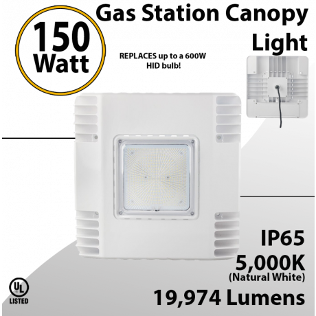 LED Gas Station Canopy Light 150W 19974 Lumens UL and DLC