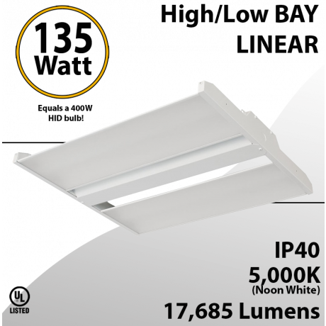 LED High Bay Light 2Ft. 135W 17685 Lumens 5000K UL DLC