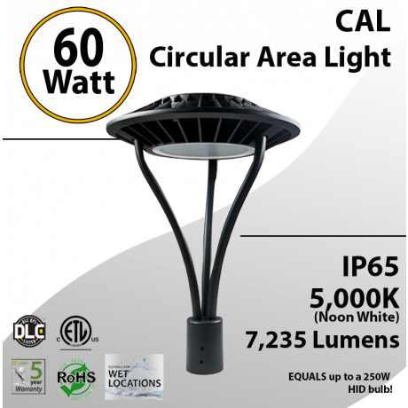 Post Top Area Light 60W 7235Lm 5000K
