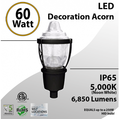 Post Top Acorn Decoration Light 60W 6850Lm 5000K