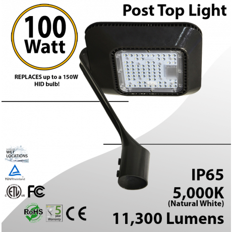 Top Post 100W LED Garden Light 5000K 11300 lumen