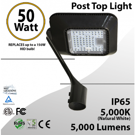 Top Post 50W LED Garden Light 5000K 5000 lumen
