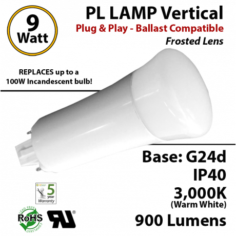 9W PL LED Lamp 900Lm 3000K Frosted Lens G24-d IP40 UL.  Ballast compatible