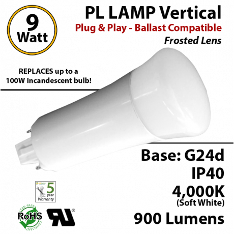 9W PL LED Lamp 900Lm 4000K Frosted Lens G24-d IP40 UL. Ballast compatible