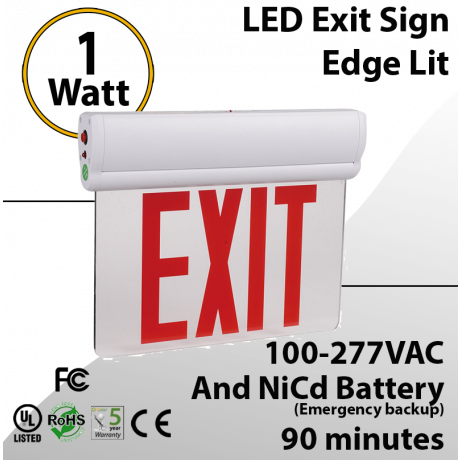 LED Exit Sign Edge Lit with battery backup 1 Watt 90 Minutes