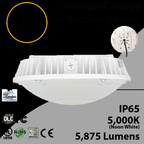 40W LED Canopy Light Motion Sensor 5000K 5875 Lumens UL DLC
