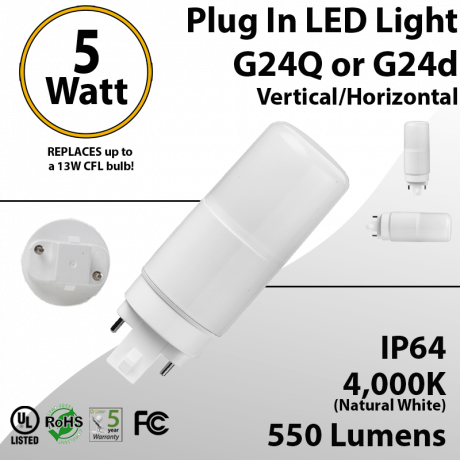 Plug In LED light G24Q or G24D 5W 550Lm 4000K IP64 UL. Direct Line (Remove Ballast)