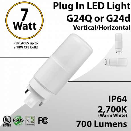 Plug In LED light G24Q or G24D 7W 700Lm 2700K IP64 UL. Direct Line (Remove Ballast)