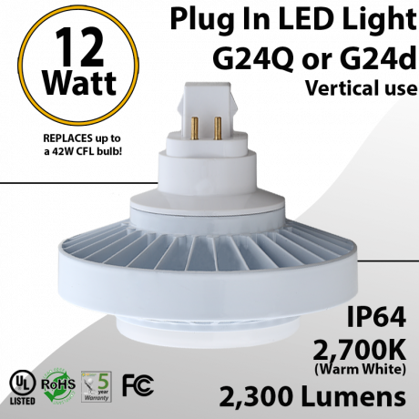 Plug In LED light G24Q or G24D 25W 2300Lm 2700K IP64 UL. Direct Line (Remove Ballast)