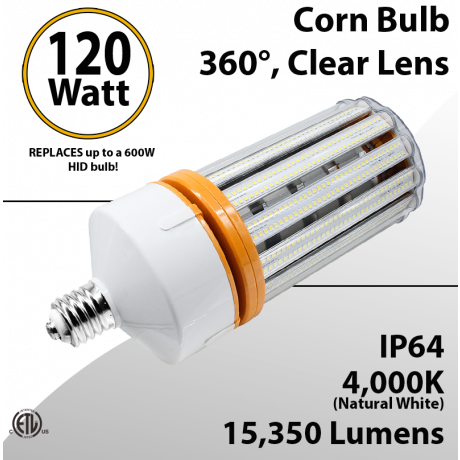 LED Corn Bulb 4000K 120W 15350Lm E39 IP64 ETL DLC