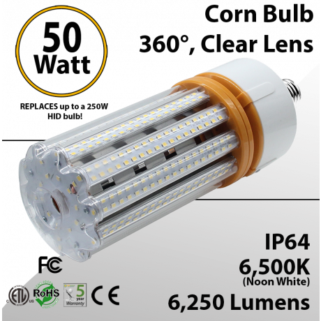 LED Corn Bulb 50W 6250Lm 6500K E26 / E39* IP64 ETL DLC