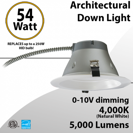 LED Downlight Architectural Trim 8inch 54W 5000Lm Dimmable 4000K
