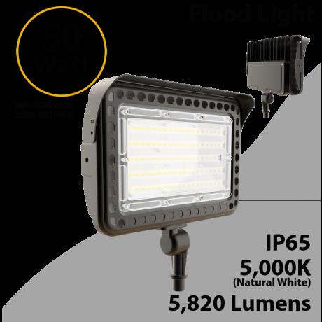 LED flood light 50W 5000K with knuckle mount 5820 lumens