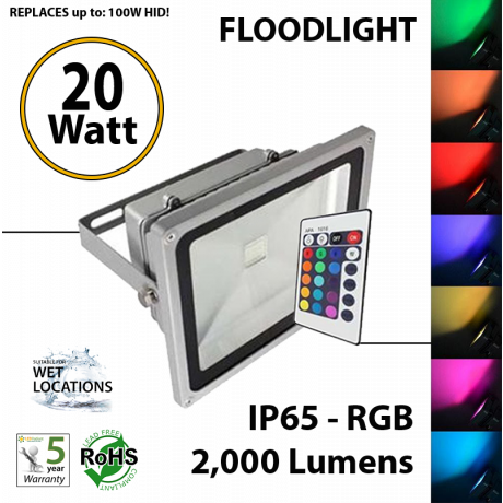 20W, LED Floodlight, 2000Lm, RGB, remote Control, IP65 UL