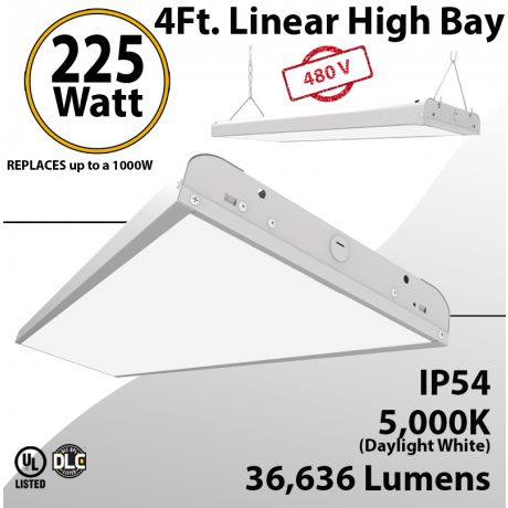 Linear High Bay Linear Fixture 225W 36636Lm 5000K 277-480V