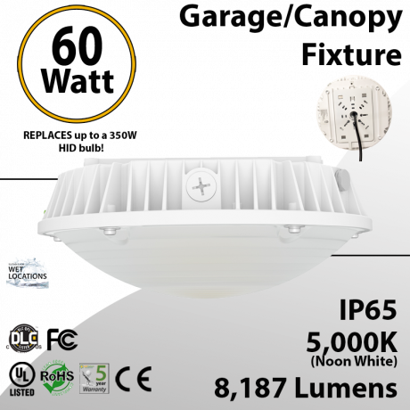 Parking garage Light Fixture   60W 5000K 8187 Lumens