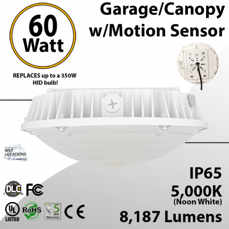 Parking garage Lighting LED Motion Sensor 60W 5000K 8187 Lumens UL DLC