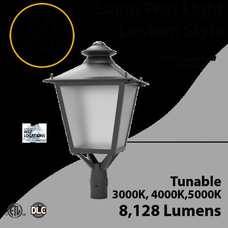 LED Post Light 60W LED Lantern Style 8128Lm 3000K 4000K 5000K