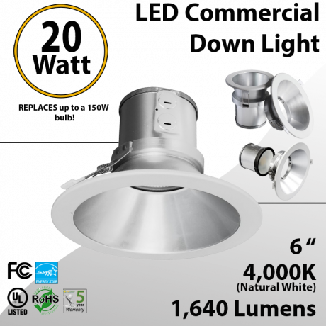 LED commercial retrofit 20W 6 inches 1640lm Energy Star dimmable