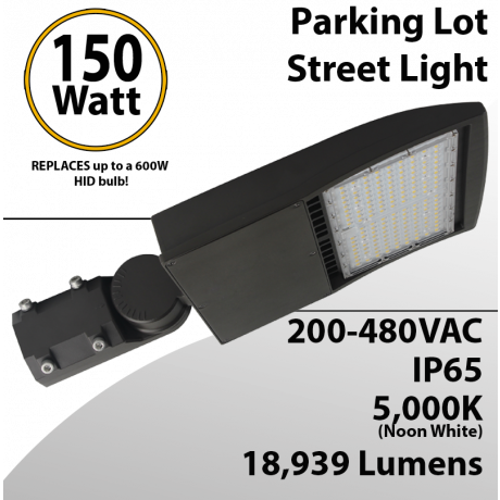 LED Street Light fixture 150W 480V 18939Lm 5000K UL IP67 DLC