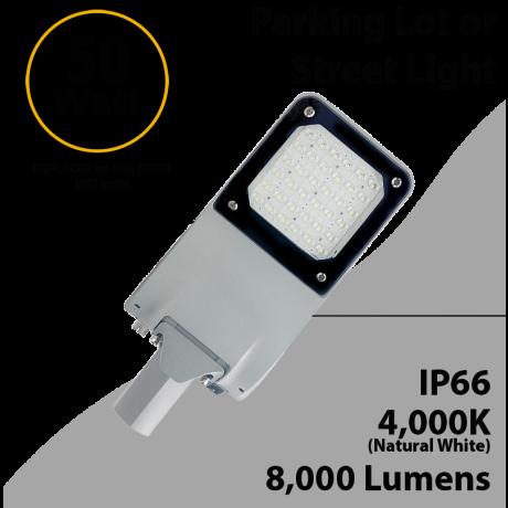 LED Street Light 50W 8000Lm 4000K UL IP66 IK09