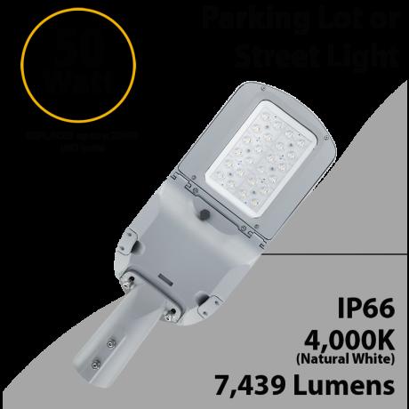 LED Street Light 50W 7439Lm 4000K UL IP66 IK09