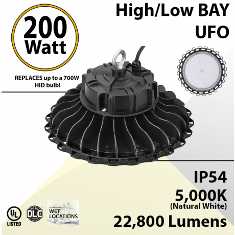 200W LED High Bay Light UFO 22800 Lumens 5000K UL DLC