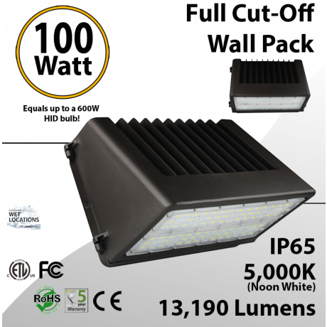 LED Wal Pack Lights 100W 13190 Lm DLC 5000K