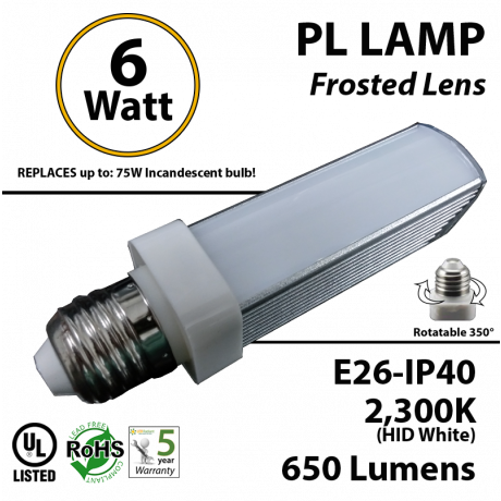 6W PL LED Bulb lamp 2300K E26 UL.Frosted.  Direct Line (Remove Ballast)