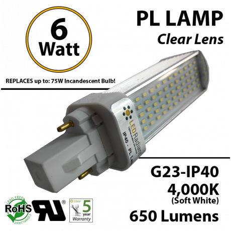 6W PL LED Bulb lamp 650Lm 4000K G23 IP40 UL. Direct Line (Remove Ballast)