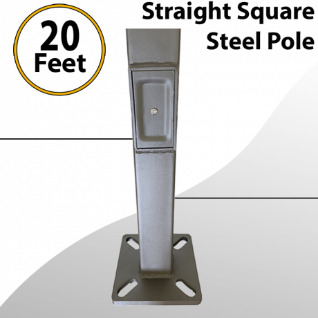 Steel Straight Square Light Pole 20Ft by 4inch 11G
