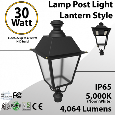 Post Light 30W LED Lantern Style 4064 Lm 5000K ETL DLC