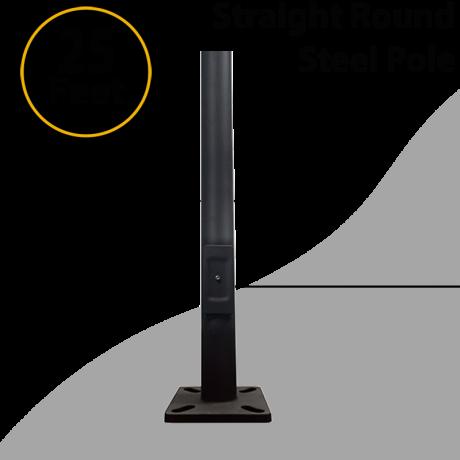 """Light Pole Straight Round Steel Dark Bronze Anchor Base 25Ft x 4.0"""" 11G Thick"""