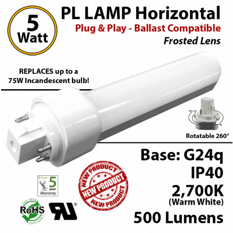 5W PL LED Lamp 500Lm 2700K Frosted Lens G24q IP40 UL. Ballast compatible.