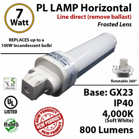 7W PL LED lamp 800Lm 4000K Frosted Direct Line (remove ballast) GX23 IP40 UL