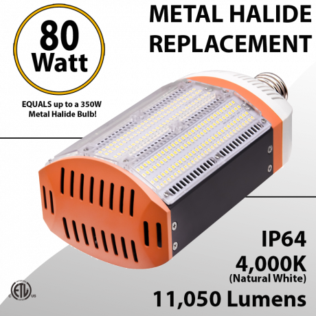 Metal Halide Led Replacement 4000K 80W11050 equals up to 350W IP64 ETL